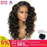 Луффи свободная волна синтетические волосы на кружеве натуральные волосы Искусственные парики для женщин натуральный черный 150% плотность
