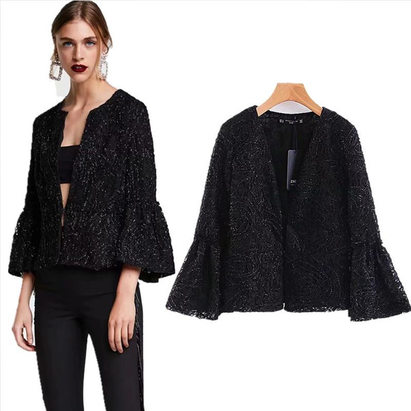 COZARII 2018 women jacket casaco feminino england style Bright silk open stitch lace jackets women bomber jacket plus size
