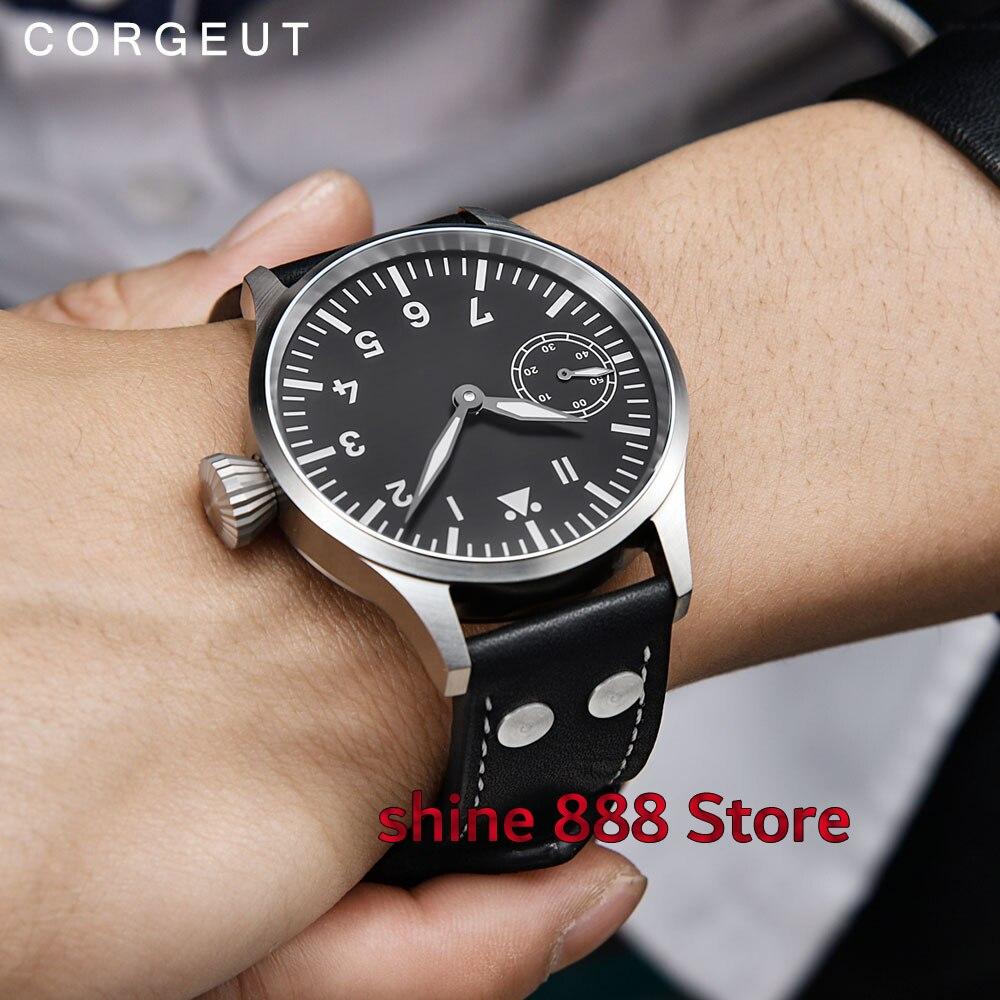 Corgeut 43mm sapphire glass Black Dial Luminous Hand Winding 6497 movement Men s Watch