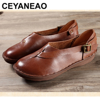 CEYANEAO 2018 Women Flat Shoes loafers Genuine Leather Casual Flats Shoe belt buckle Comfortable Driving shoes VentilationE968