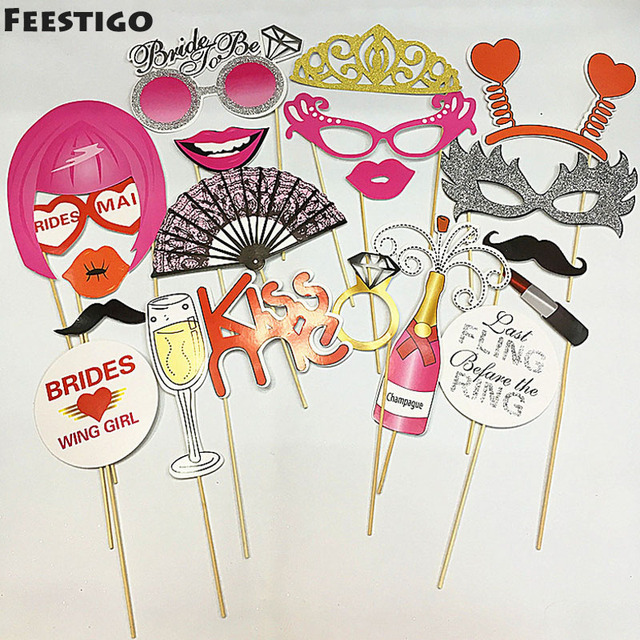 9185d366c2 US $4.49 5% OFF|FEESTIGO Wedding Bachelorette Hen Party Bride Last Fling  Before Ring Party Photo Booth Props Mustache DIY Party Decorations-in ...