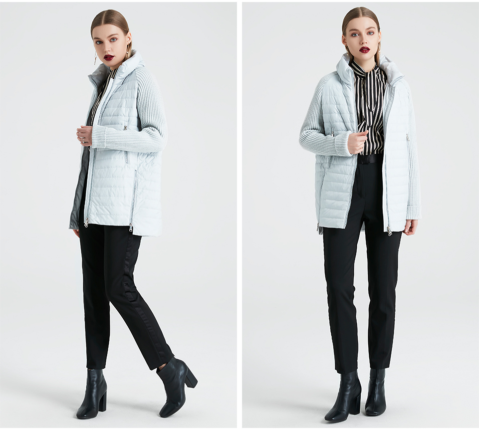 MIEGOFCE 19 Spring And Autumn Women's Coat with Stand Collar Short Coat Women's Thin Windproof Knitted Sleeve Warm Jacket 12