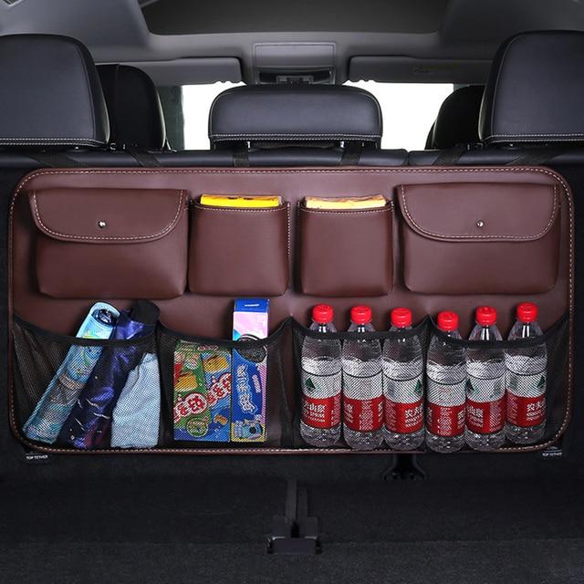 O SHI CAR PU leather Car Rear Seat Back Storage Bag Multi use Car Trunk Organizer Auto Stowing Tidying Auto Interior Accessories
