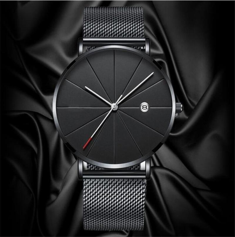 HTB13AHaaRKw3KVjSZFOq6yrDVXaG Luxury Fashion Business Watches Men Super Slim Watches Stainless Steel Mesh Belt Quartz Watches Gold Watches Men Gift 2019