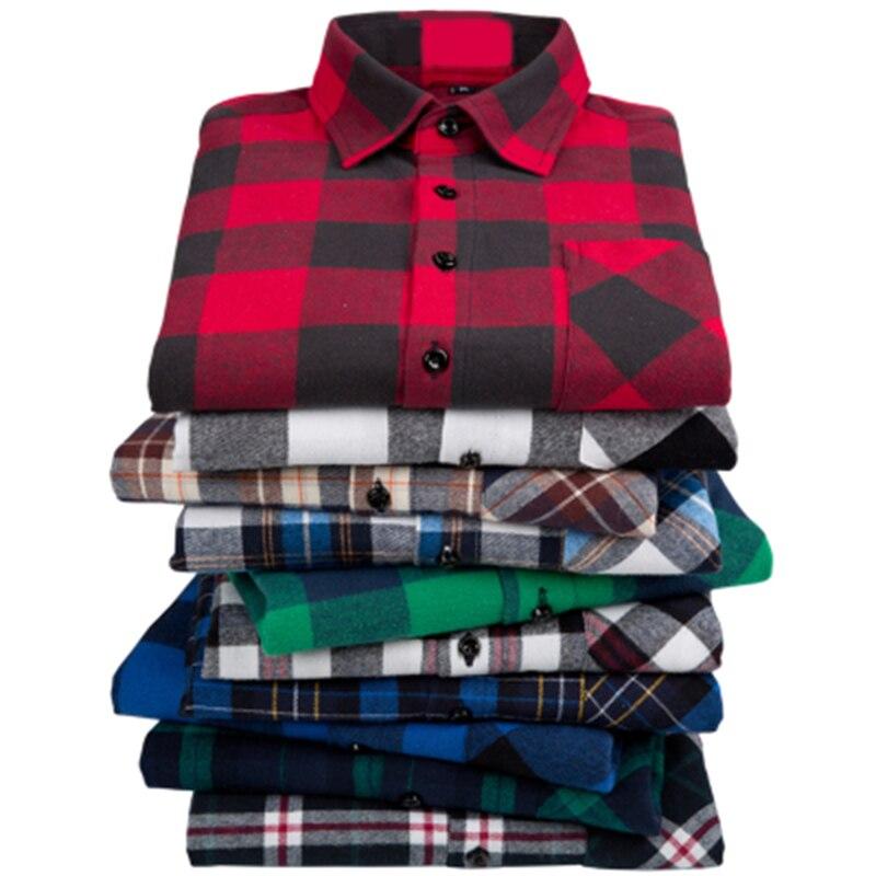 Casual Long Sleeve Shirt 100%cotton Men Flannel Plaid Shirt2019New Autumn Chemise Homme Cotton Male Check Shirts Men Plaid Shirt
