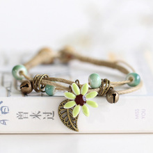 2020 Flower Ceramic Beads Bracelets Natural Stone Charm Handmade Accessories Bronze Statement Bangles Fashion Gifts Cheap fashion men 6mm bead bracelets classic natural matte stone beads charm handmade bracelet