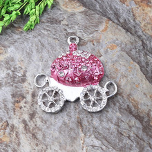 Free Shipping 10Pcs/Lot Quality Alloy Silver Plated Bright Pink Pumpkin Cart Rhinestone Pendant For Kid's Necklace Jewelry