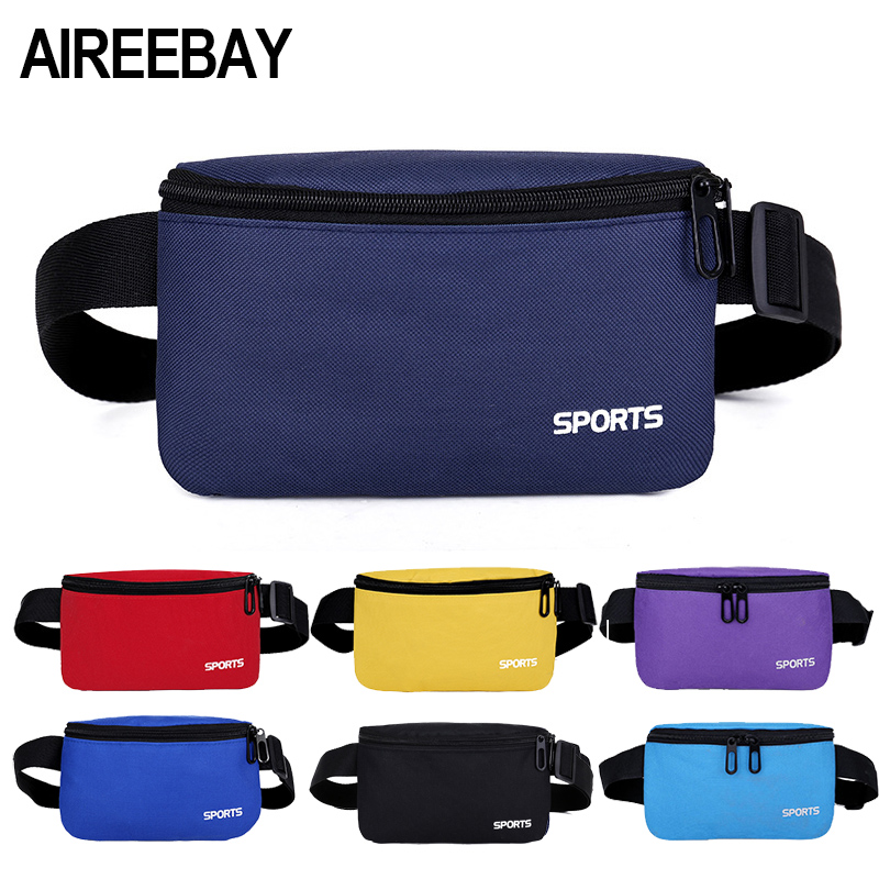 AIREEBAY Fashion Unisex Fanny Pack Men Waist Pack Women Belt Bum Bag Waist Bag Male Phone Wallet Teenager's Travel Pouch Bags