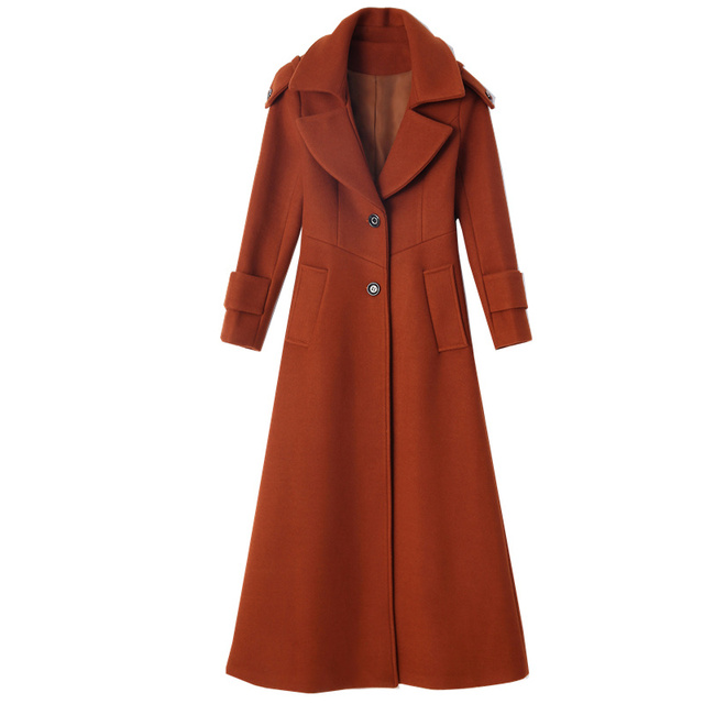 Plus Size 3XL Super Long Wool Coat Women Manteau Femme Fashion Elegant Winter Coat Women Lapel Warm Outerwear Women Parka C5128 5