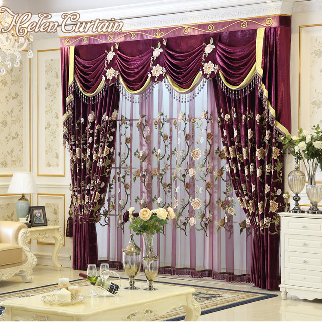 Pictures Curtains Living Room Ikea Chairs Helen Curtain New Luxury For European Style Embroidery Bed Red Rose Valance Hc57