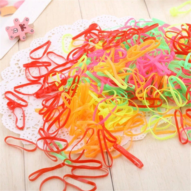 100 Pcs/Pack Ponytail Holder Black Elastic Rope Rubber Bands High Quality Girls Rope Tie Hair Accessories Hair Clip Hairclip