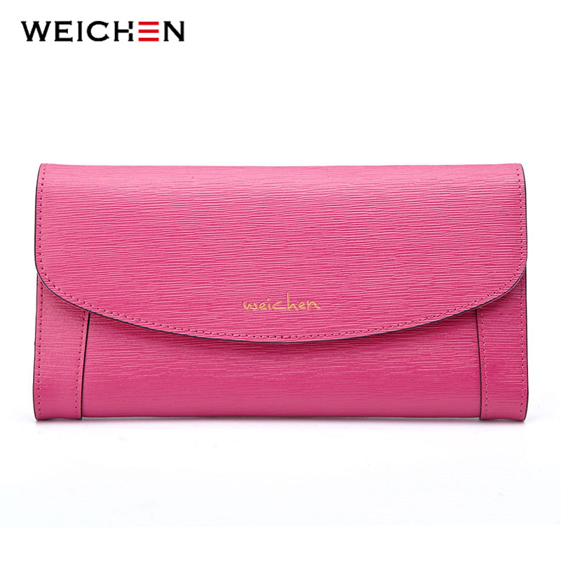 WEICHEN Genuine Leather Envelope Clutch Wallet For Women Brand Large Capacity Long Wallet Hasp Purse Card Holder Pocket Carteira casual weaving design card holder handbag hasp wallet for women