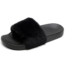 Hot Women Slippers Fashion Spring Summer Autumn Plush Faux Fur Slides Flip Flops Flat Shoes Sandals  winter shoes