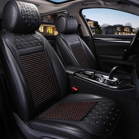 Universal Car Seat Cover Wood Beads Seat Cushion Cool Summer Breathable Leather Auto Seat Mat Auto Accessories
