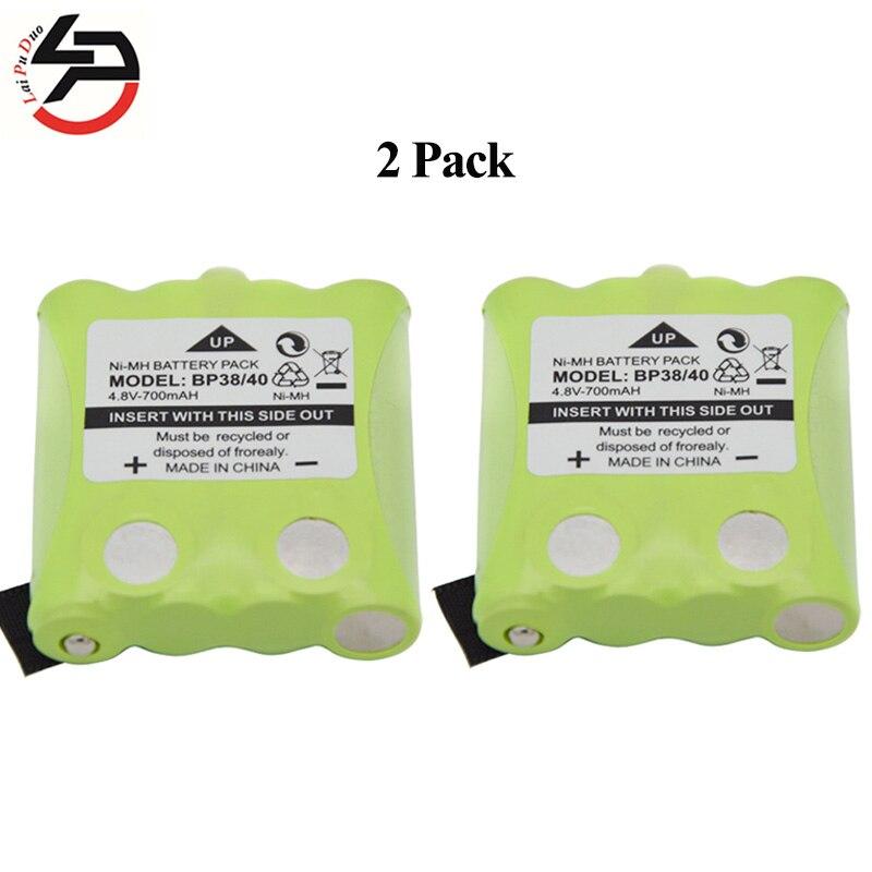 2 pcs/lot 4.8 V 700 MAH NI-MH Batterie Pour Uniden BP-38 BP-40 BT-1013 BT-537 Pour MOTOROLA TLKR T4 T5 T6 T7 T8 Série modèle