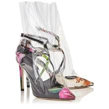 Eunice Choo Pointed Toe Buckle Strap PVC Patchwork Design Women Pumps Sexy  Summer Clear Ankle Boots High Heels Party Dress Shoes 36d091288618