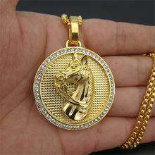 Jockey Club Horse Head Pendants Necklaces For Women/Men Gold Color Stainless Steel Round Coin Iced Out Bling Hip Hop Jewelry