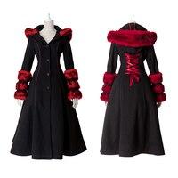 Готический стиль Лолиты двухизнос шерстяное пальто с имитацией меха Панк Осень Зима Мода длинный рукав с капюшоном длинное пальто