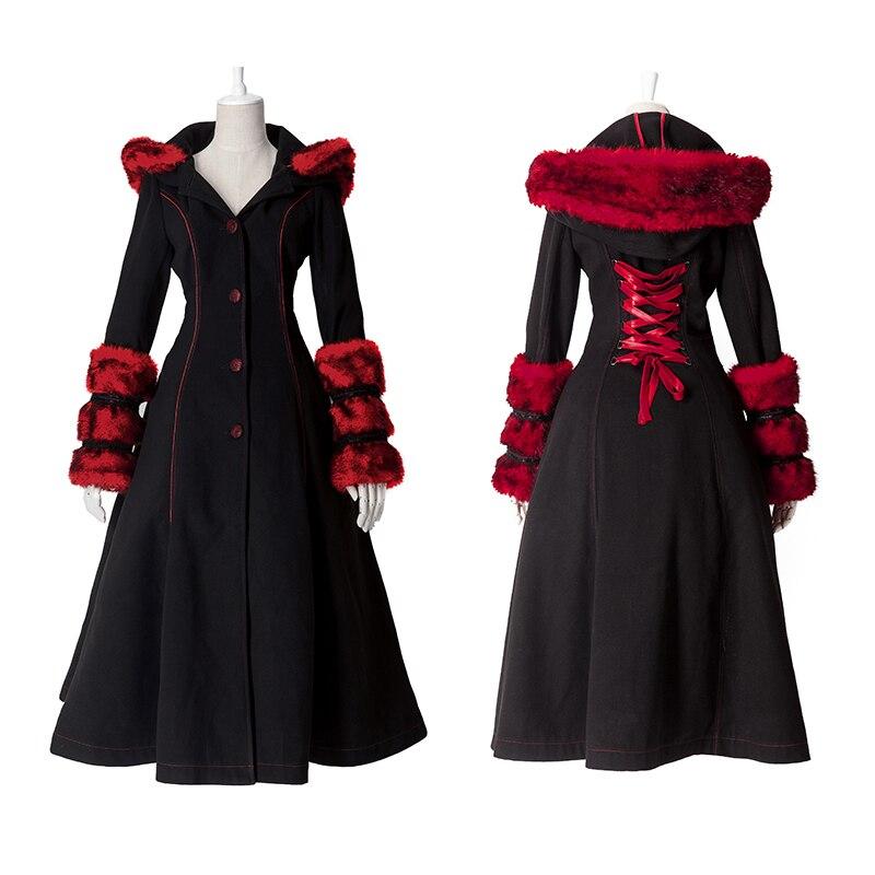 Gothic Lolita Estilo Two-desgaste De Lã Imitação De Pele Casaco de Punk Outono Inverno Moda Manga Comprida Com Capuz Casaco Longo