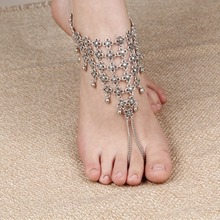 New Charm Anklets for Women Vintage Foot Jewelry Ancient Silver Plated Flower Ankle Chain Bracelet AN12