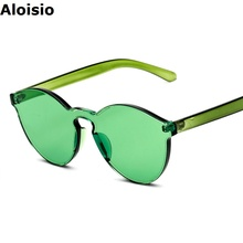 Aloisio Pinkycolor Candy colored Green Women Sunglasses Brand Designer Glasses UV400 Integrated Plastic Frame Lady Eyewear AL386