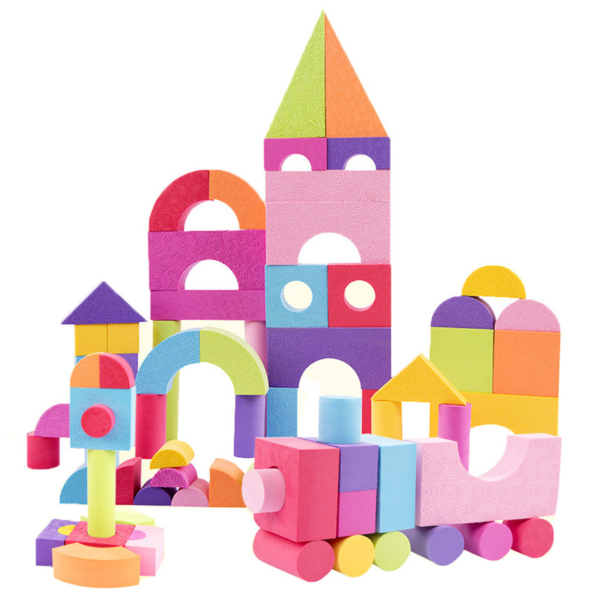 50 Pcs Kid EVA Safe Foam Building Blocks Soft Bricks Classic Montessori Toys Colourful Blocks Set Gift for Children Legoings