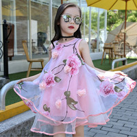 Baby Girls Dress 2017 Novelties Summer Kids Party Flower Lace Sleeveless Lush Dress For Girl Costume