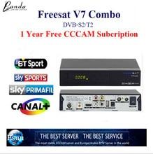 Freesat V7 Combo 1 año Europa Cline cccam Receptor de Satélite DVB S2/T2 Soporte PowerVu Llave Biss CCcam Newcam Youtube Youporn