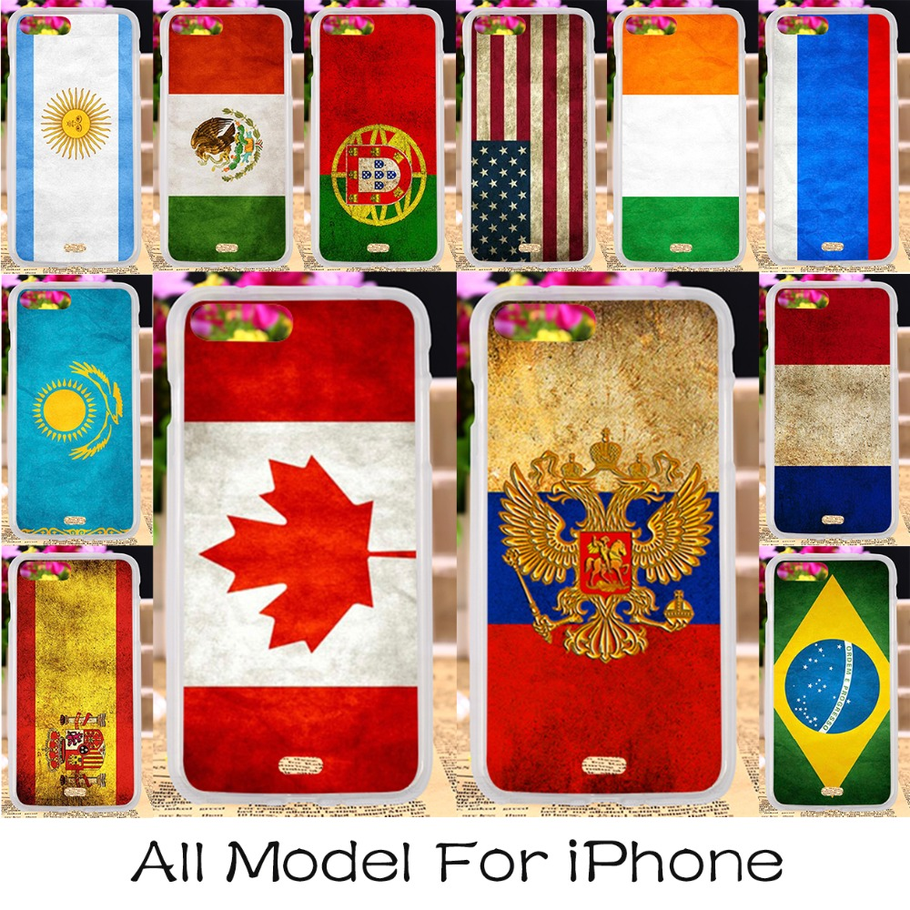 Plastic Phone Case Cover For Apple iPhone 5c 4 4s 5 5s 6 6s 7 6 Plus 6s Plus 7 Plus SE iPhone5c Cover National Flag Housing Bag