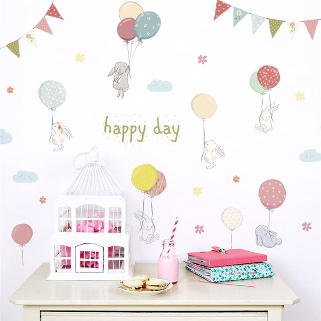 happy day cartoon rabbit flower balloons Flag wall sticker for kids rooms wall decal bedroom living room birthday party decor