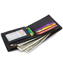Manufacturers wholesale and foreign trade direct sales men leather wallets multi-function horizontal black 2802