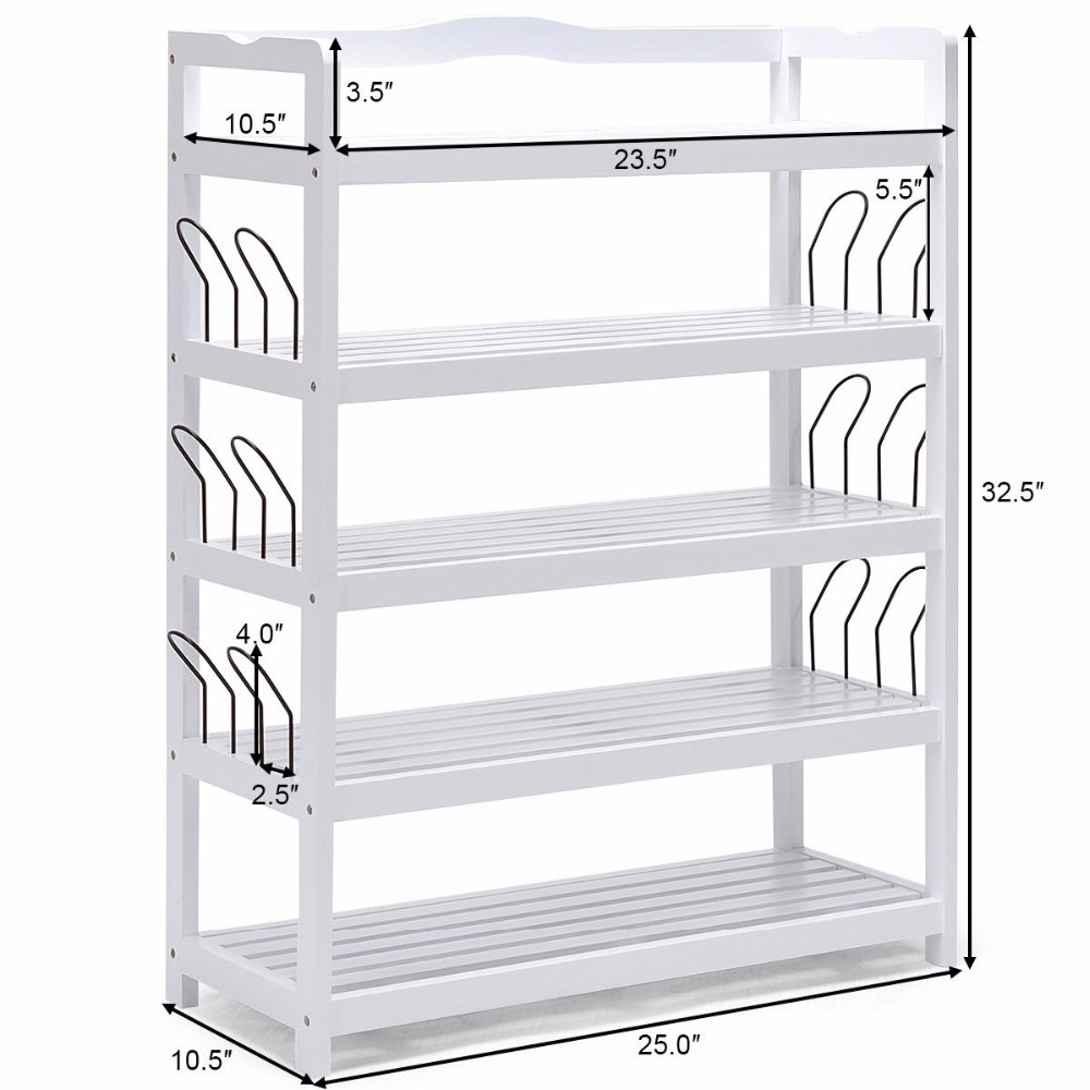 Giantex 5-tier wooden shoe rack shelf storage organizer entryway w ...