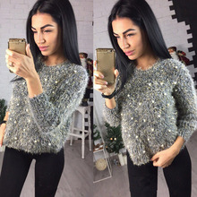 Beading Pearl Fluffy Women Knitted Sweaters Crop Top O Neck Slim Female Pullover 2019 Fall Winter Mohaire Fashion Casual Clothe недорого
