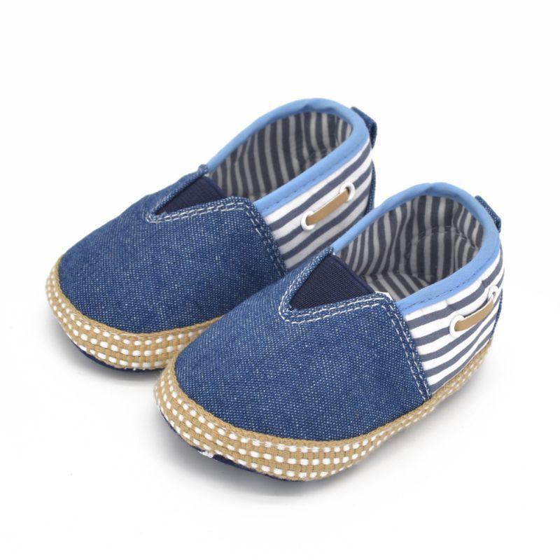 Toddler Baby First Walker Boys Girls Soft Sole Denim Crib Shoes Kids Stripe Prewalker 0-18 Month