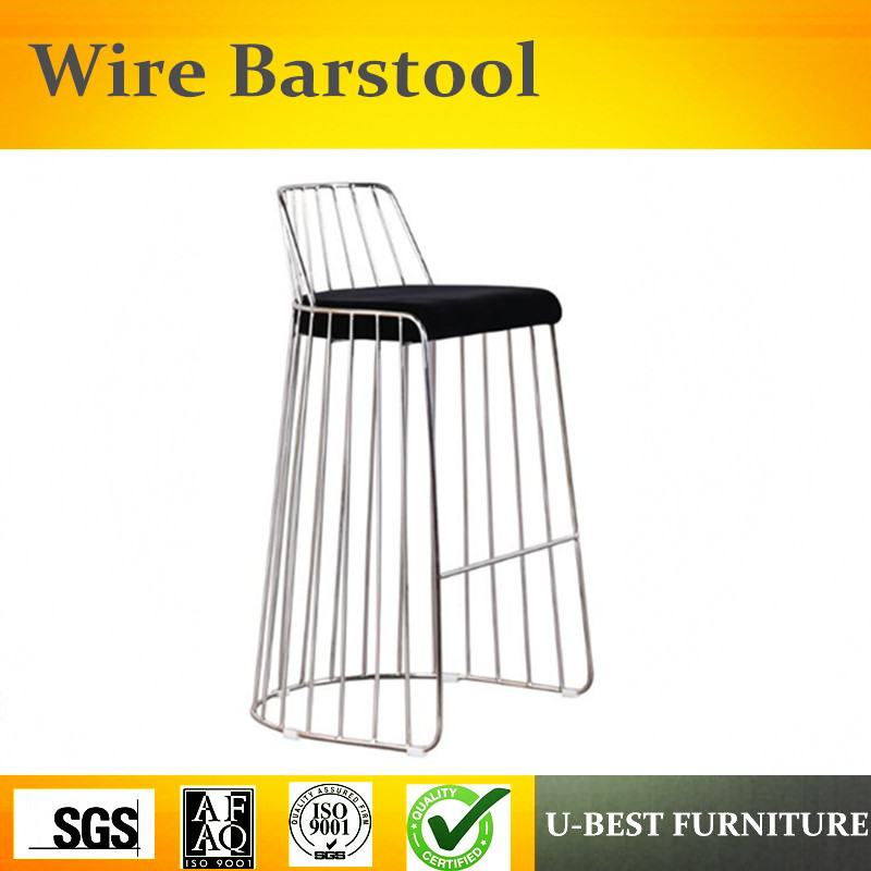 U-BEST Wholesale Gold Frame Metal Bar Stools,Rose Gold Metal Bar Stool And Bride's Veil Counter Stool With Back