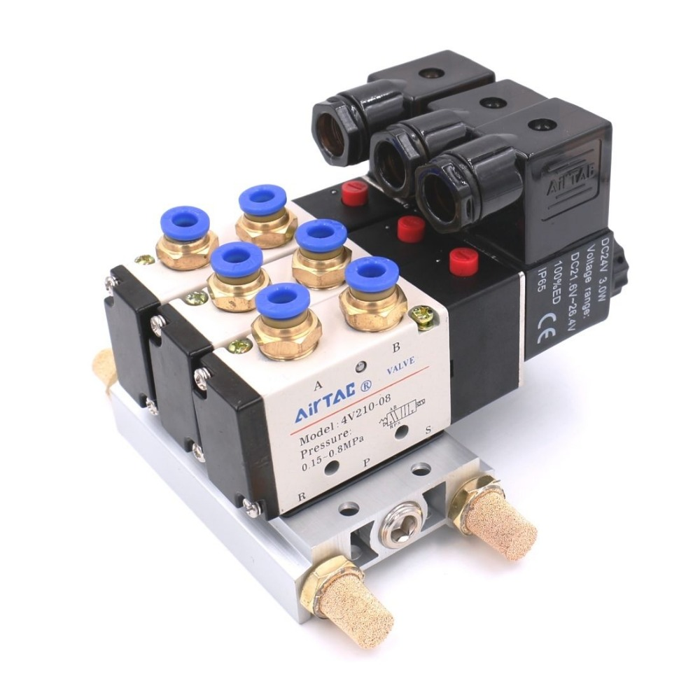 Pneumatic 4V210 08 110VAC 5 Way Triple Solenoid Valve w Base Push In Connectors Silencer