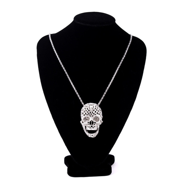 Fashion Stereo Skull Necklace high quality inlaid rhinestone Pendant jewelry long Sweater Chain Pendant Skull Necklace 19038 2