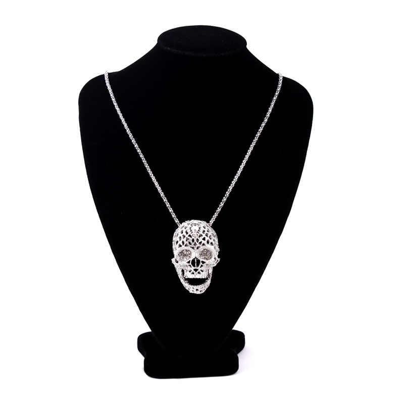 قلادة على شكل جمجمة ستيريو أنيقة عالية الجودة قلادة مرصعة بحجر الراين مجوهرات سلسلة سترة طويلة قلادة جمجمة قلادة 19038