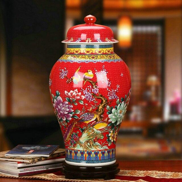 Vase Large Flower Temple Jar Home Decoration Porcelain Ginger Sitting Room Red Bird