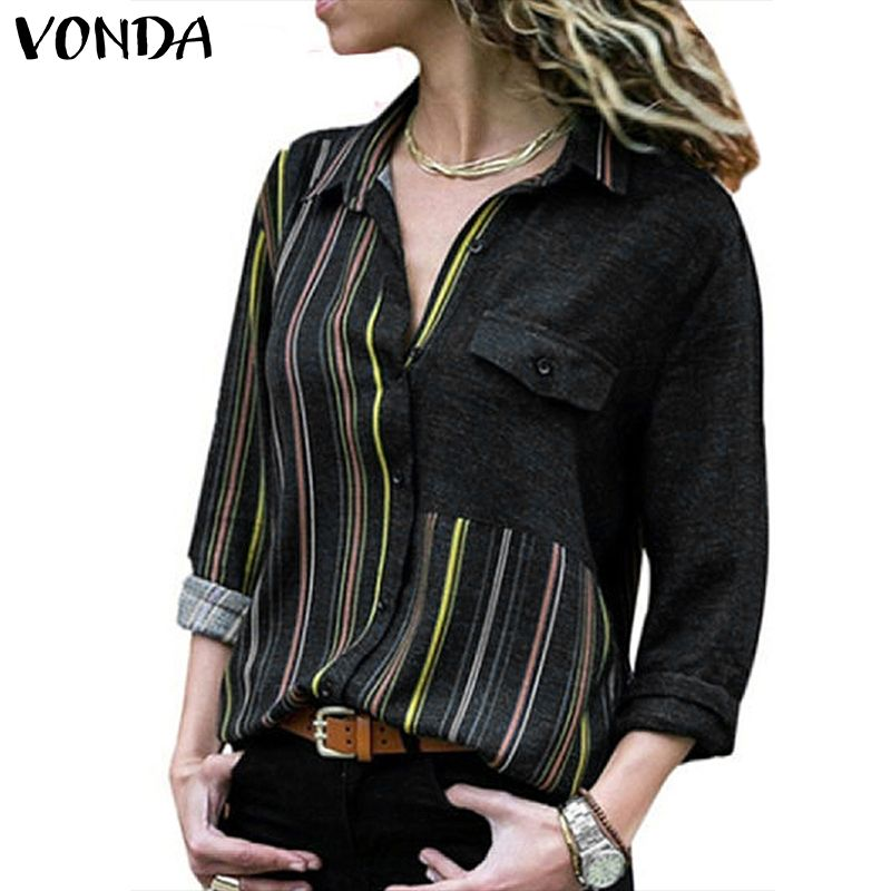Women Blouse 2020 VONDA <font><b>Sexy</b></font> V Neck Long Sleeve Blouses And Tops <font><b>Femme</b></font> Casual Loose Striped Shirts Plus Size OL Office Wear <font><b>5XL</b></font> image