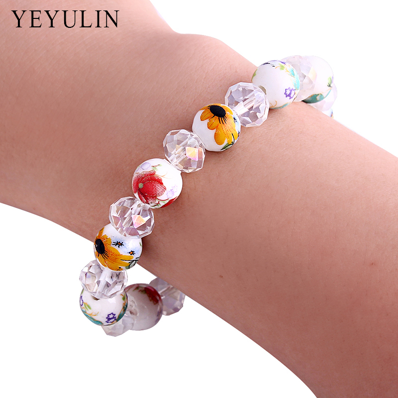 New Design Printed Ceramics Shiny Crystal Beaded Bracelet Fashion Stretch Bangle Jewelry For Woman