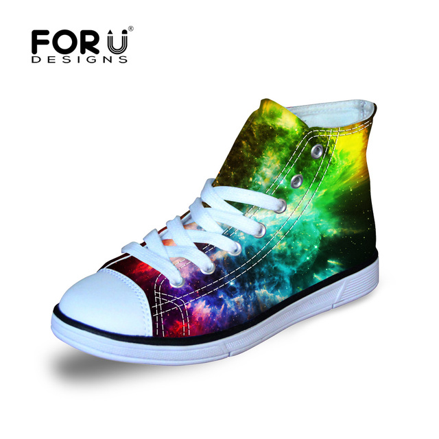 Children Galaxy High Top Walking Sport Shoes Custom Ray Skin Sneaker Boys and Girlds Painted Harajuku Style Canvas Sneaker Gifts