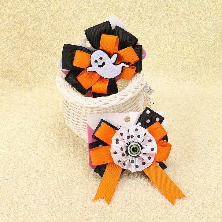 Free Shipping 100pcs/lot Halloween Grosgrain Ribbon Bows WITH Clip Ghost Girl Pinwheel Hair Clips Hair Pin Accessor