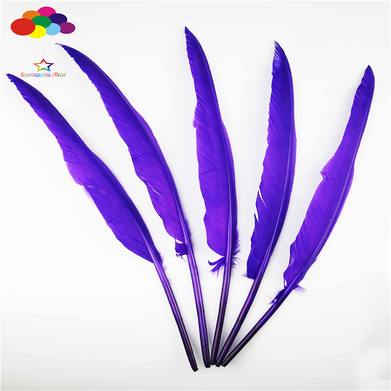 Z&Q&Y Natural High Quality 35 40CM (14 16 inch) 100 Crane Feather Purple DIY Stage Christmas Holiday Party