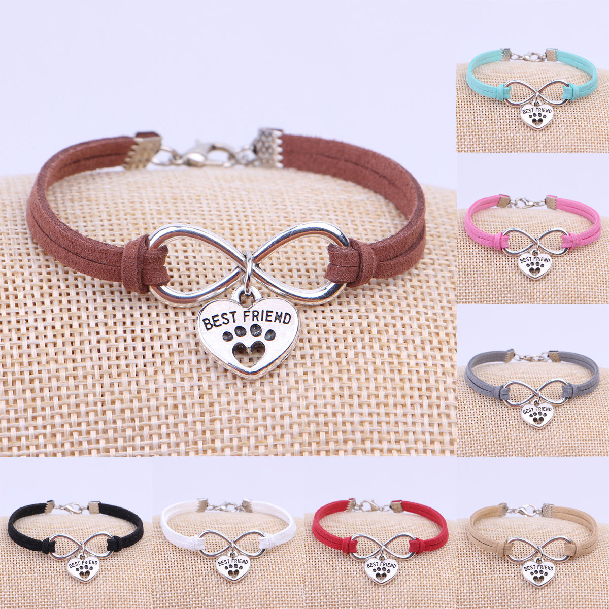 Mixed Color Velvet Leather Infinity Bracelet Bangle Dogs Paw Best Friend Cat Charms Pendant  New Unisex Jewelry Colors To Choose