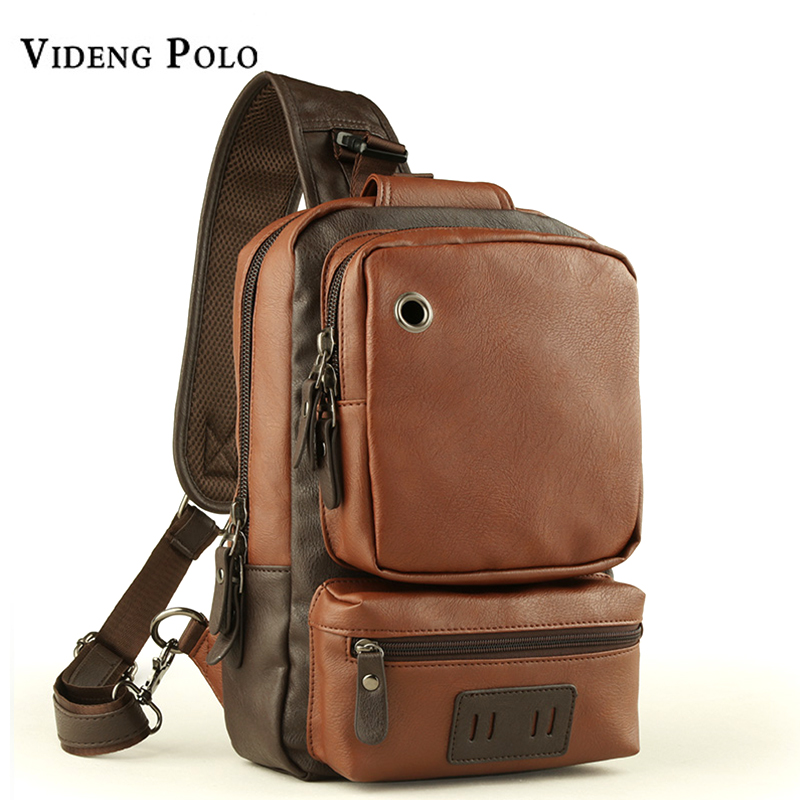 VIDENG POLO 2017 New Fashion Men Bag Famous Brand Leather Vintage Messenger Shoulder Bag Casual Crossbody Simple Chest Bag Male new casual business leather mens messenger bag hot sell famous brand design leather men bag vintage fashion mens cross body bag