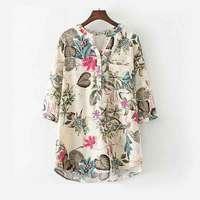 Plus Size Blouse Shirt 2017 Women Summer Clothing Floral Print Cotton Linen Shirts Tops Tees Female