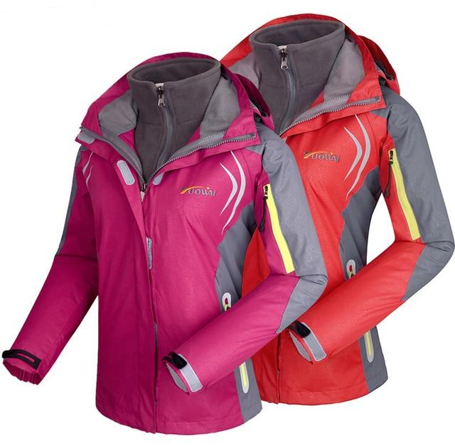 427e0d347 US $79.99 |Reflective 3 IN 1 Women's Winter Jackets Ski Suits Fleece 2  Layer Waterproof Windproof Softshell Coats Snowboard Jacket Ladies-in  Skiing ...