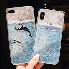 Fashion Bling Liquid Quicksand Phone Case For IPhone X Case Cover For Iphone 7 8 6 6s Plus Coque For Iphone 6 6S 7 8 x funda for iphone x 6 6s 7 8 plus case fashion girl chat page coffee cup liquid quicksand silicone cover for iphone 8 plus phone bag