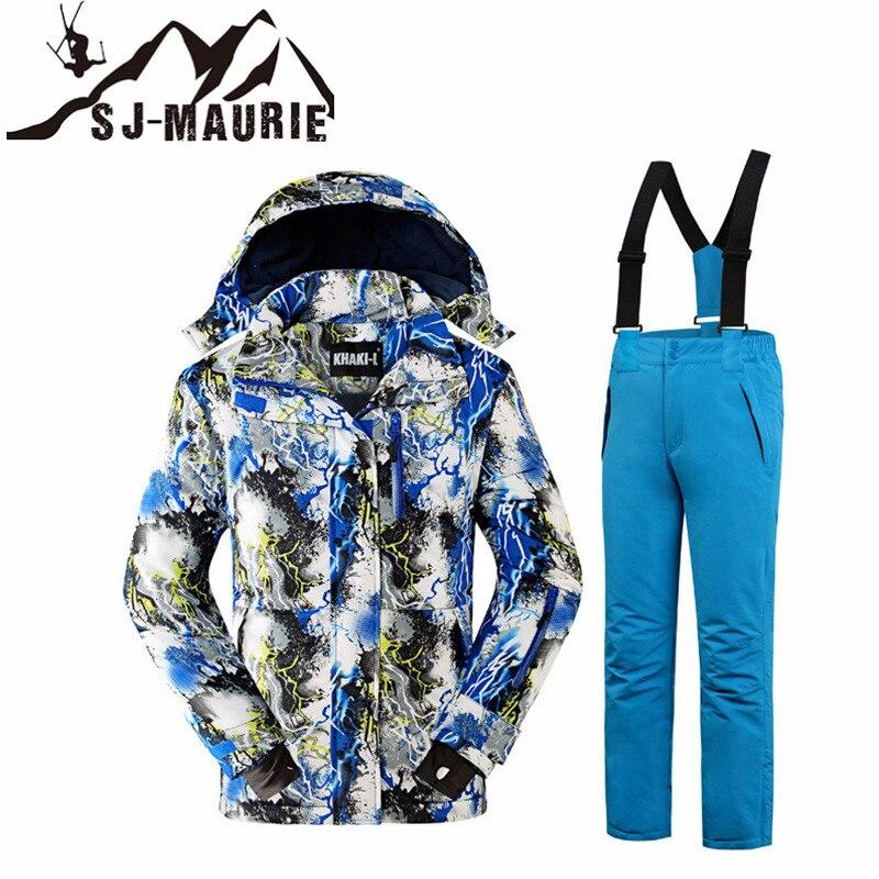 Winter Ski Suits for Girls Boys Ski Sets Windproof Kids Ski Jacket Children Outdoor Thicken Warm Hooded Snowboard Sports Suits